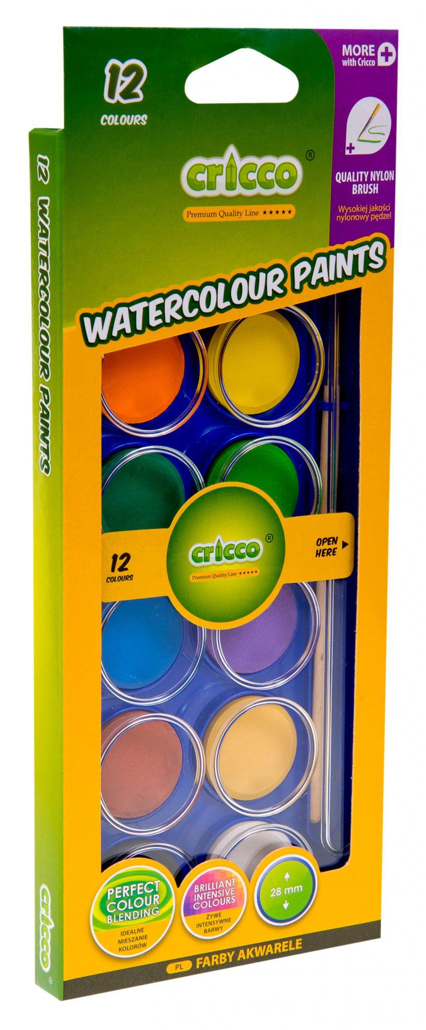 farby akwarelowe Cricco kasetka prostokątna 12 kolorów - CR360K12