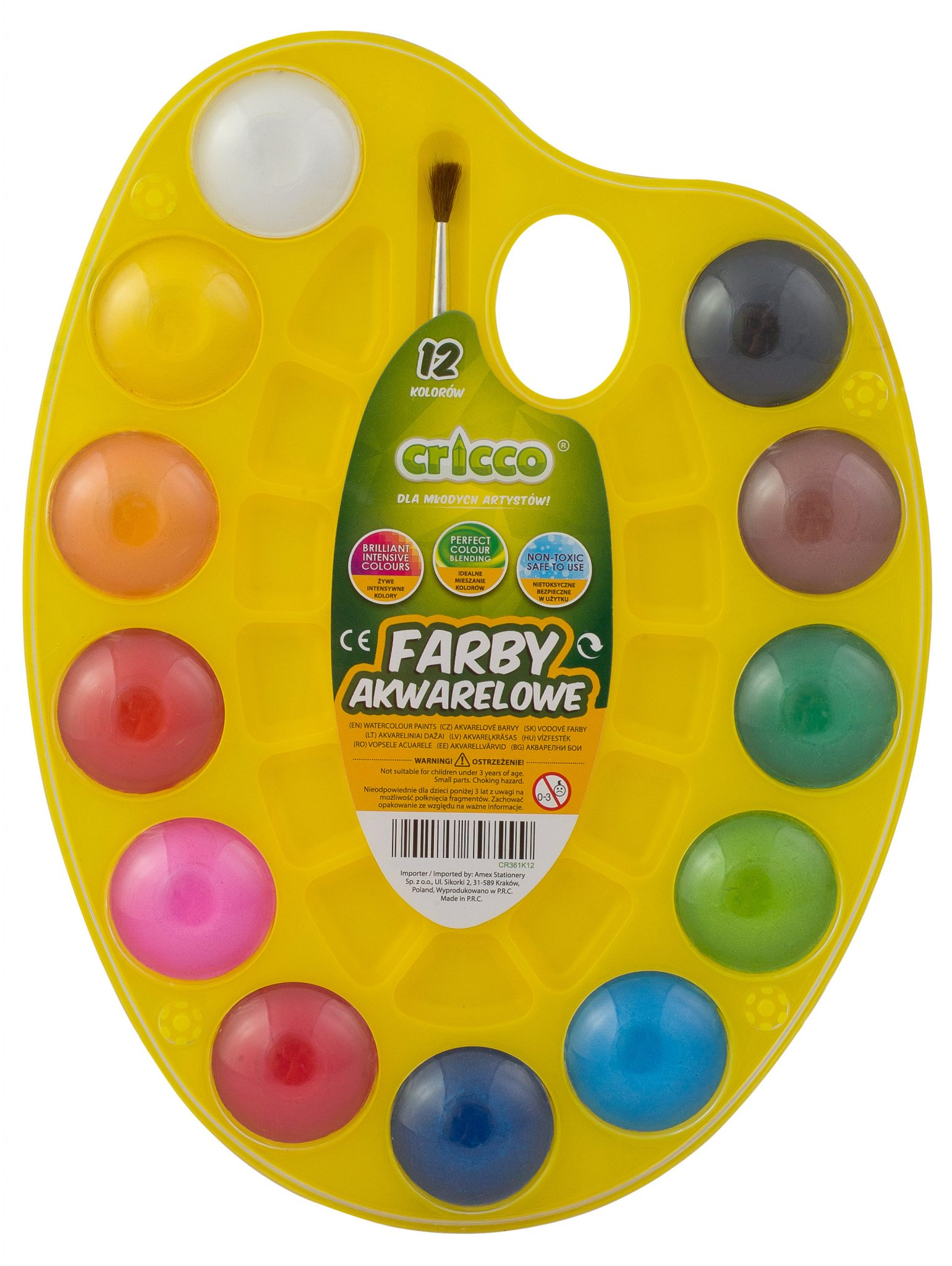 farby akwarelowe Cricco paletka malarska 12 kolorów - CR361K12