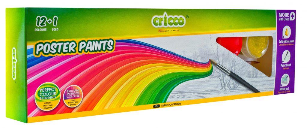 farby plakatowe Cricco 12 kolorów + złoty - CR366K13