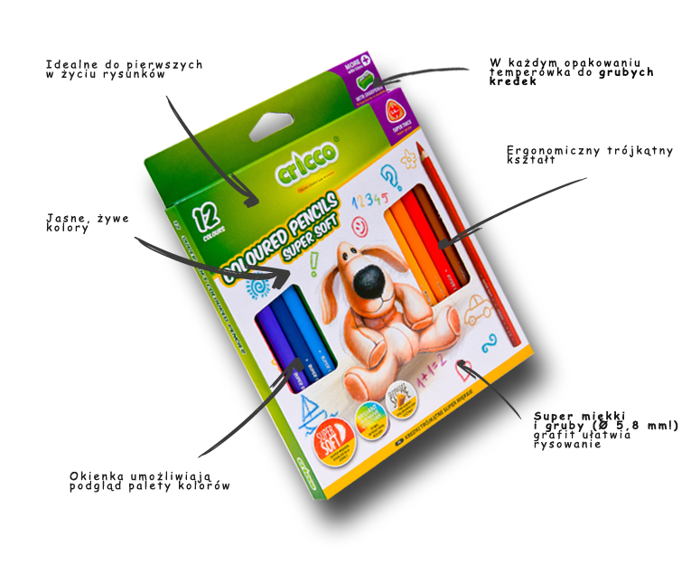 Kredki ołówkowe Jumbo Soft Cricco