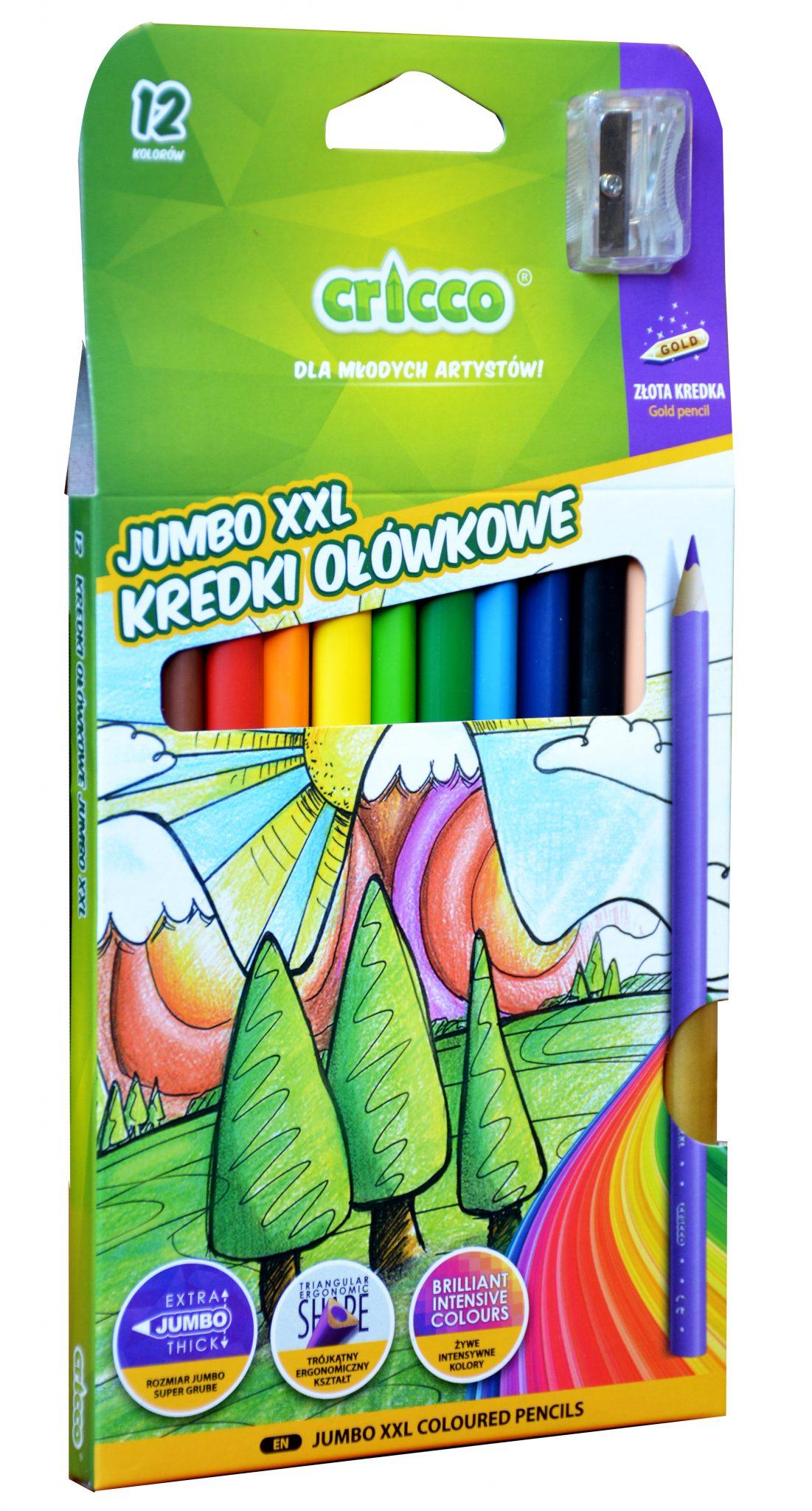 Kredki ołówkowe trójkątne Jumbo Cricco 12 kolorów